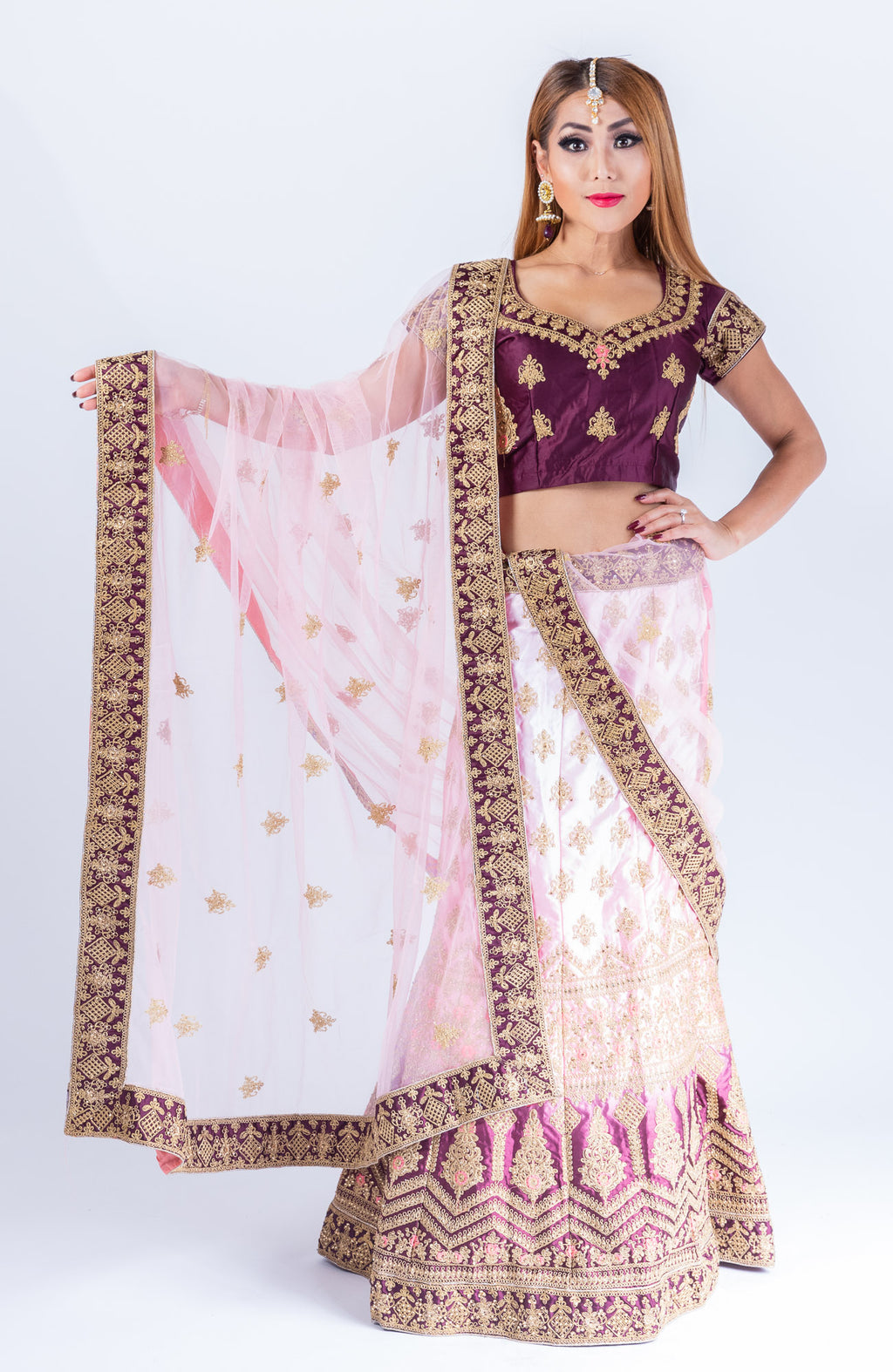 Silk Blush Pink With Mulberry Purple Heavy Embroidered Lehenga Set