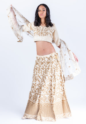 Silk Parchment White Heavy Embroidered Lehenga Set