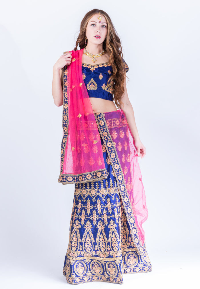 Silk Navy Blue Heavy Embroidered Lehenga Set