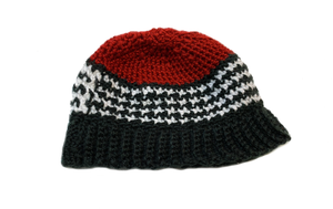 Red Crochet Houndstooth Stitch Baby Hat