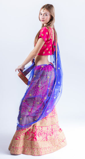 Silk Magenta Pink Heavy Embroidered Lehenga Set
