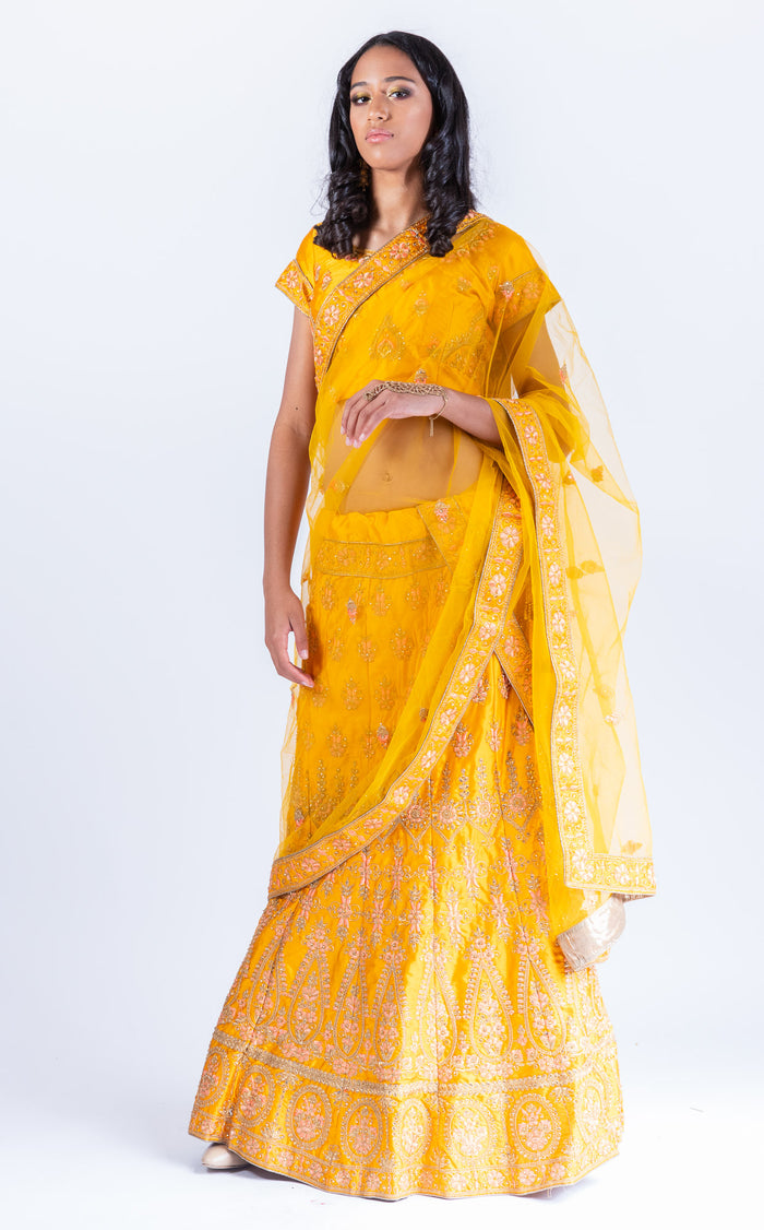 Silk bumblebee Heavy Embroidered Lehenga Set