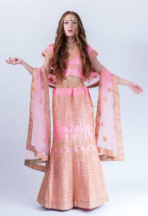 Silk Flamingo Pink Heavy Embroidered Lehenga Set