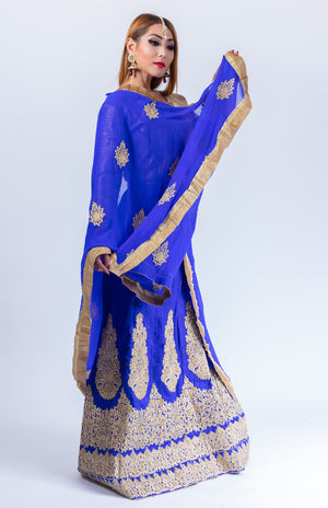 Silk Egyptian Blue Embroidered Lehenga Set