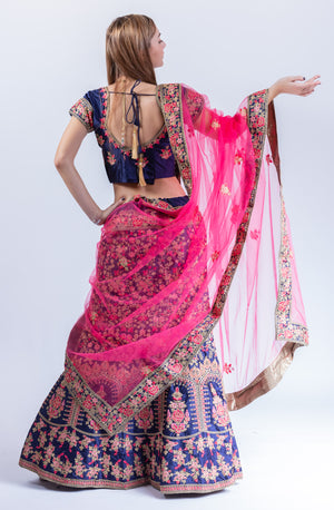 Silk Cobalt Blue Heavy Embroidered Lehenga Set