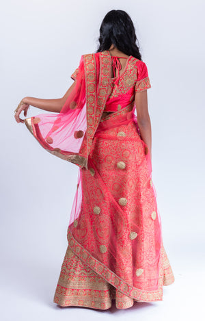 Heavy Embroidered Silk Imperial Red Lehenga Set