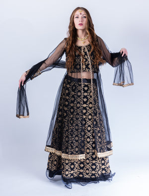 Embroidered Silk Net Crow Black Anarkali Split Lehenga