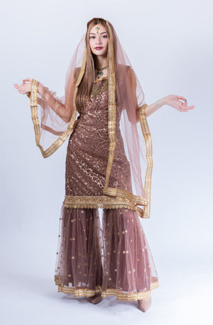 Fancy Heavy Embroidered Peanut Brown Sharara Suit