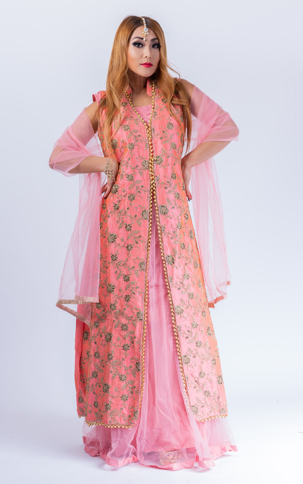 Silk Watermelon Pink Embroidered With Detachable Jacket Gown