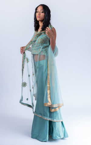Silk Tiffany Blue Embroidered Lehenga With Long Embroidered Jacket