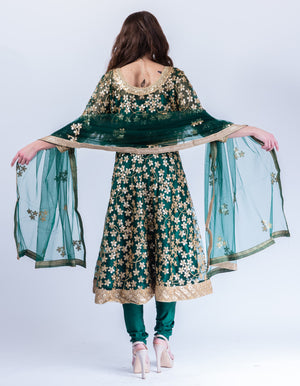 Fancy Heavy Embroidered Sacramento Green Salwar Kameez