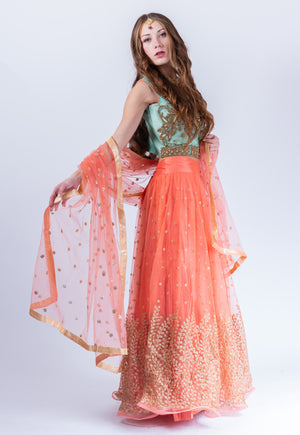 Silk Salmon With Tiffany Blue Embroidered Lehenga Set