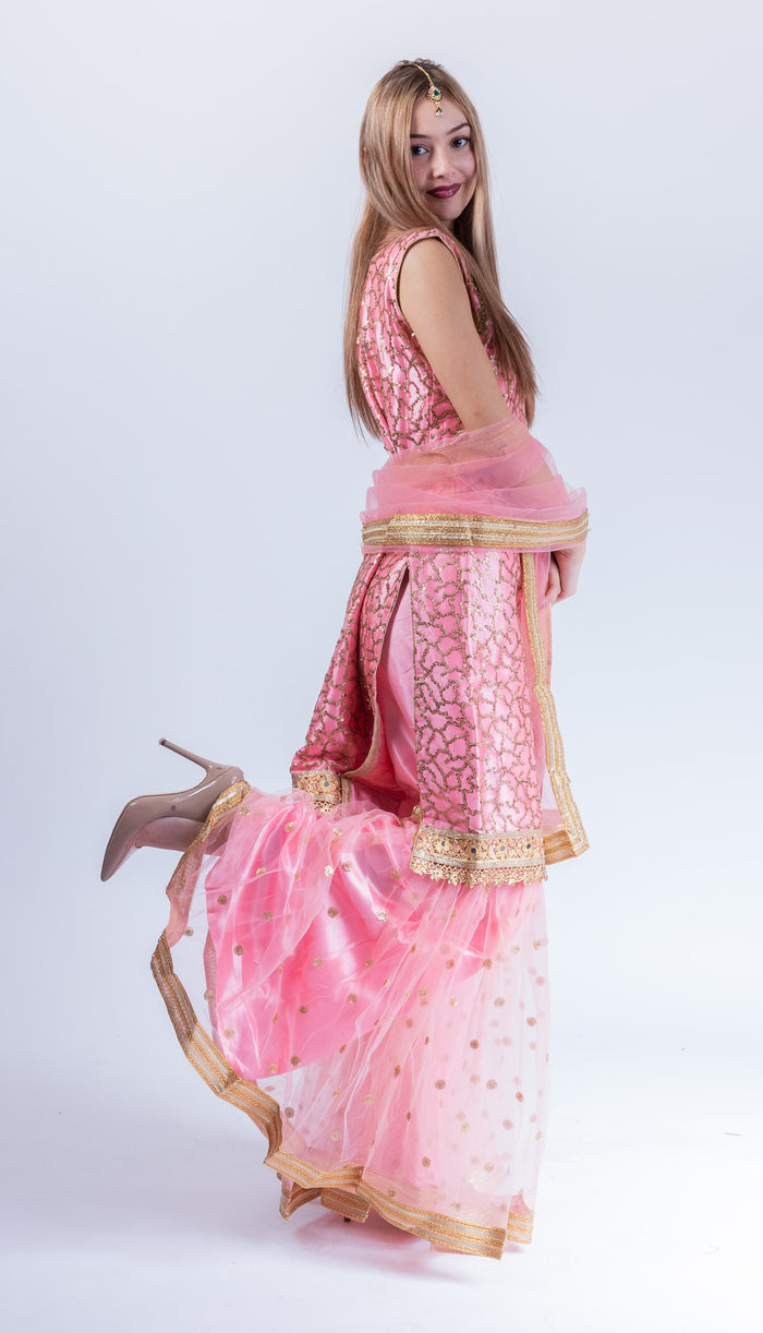 Fancy Heavy Embroidered Flamingo Pink Sharara Suit