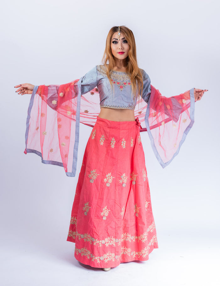 Silk Punch Pink With Lava Grey Embroidered Lehenga Set