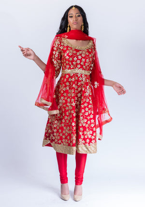 Fancy Heavy Embroidered Candy Apple Red Salwar Kameez