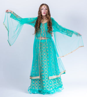 Embroidered Silk Net  Turquoise Blue Anarkali Split Lehenga