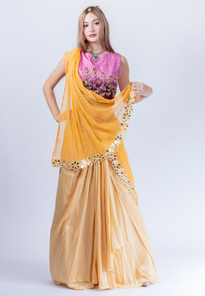 Silk Laguna Yellow Dhoti Style Embroidered Lehenga Set
