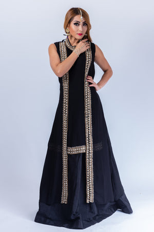 Pure Georgette With Semi Precious Stones Crow Black Anarkali Split Lehenga