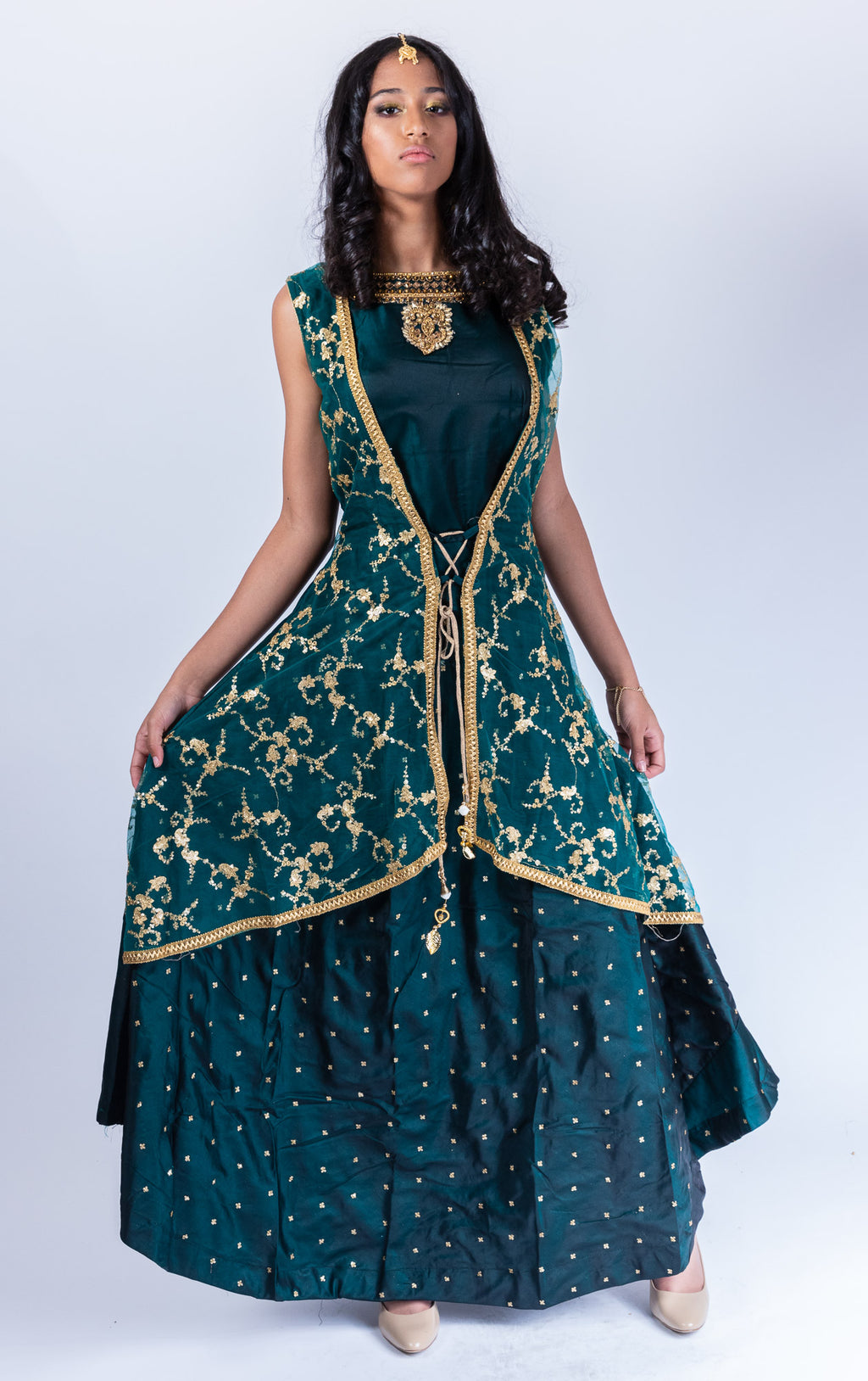 Silk Sacramento Green Embroidered With Attached Jacket Gown