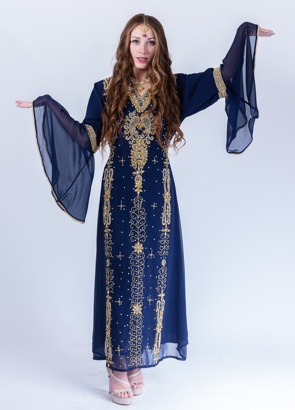 Georgette Midnight Blue Heavy Embroidered Gown /Kaftan