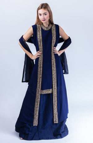 Pure Georgette With Semi Precious Stones Midnight Blue Anarkali Split Lehenga