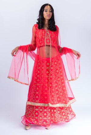 Embroidered Silk Net Scarlet Red Anarkali Split Lehenga