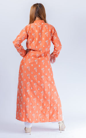 Trendy Embroidered Salmon Pink Detachable Jacket Dhoti Pant Suit