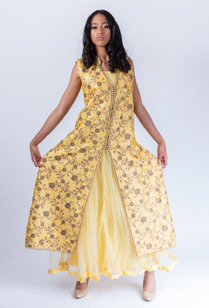 Silk Royal Yellow Embroidered With Detachable Jacket Gown