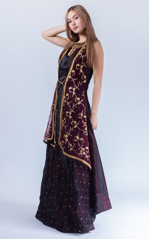 Silk Sangria Purple Embroidered With Attached Jacket Gown