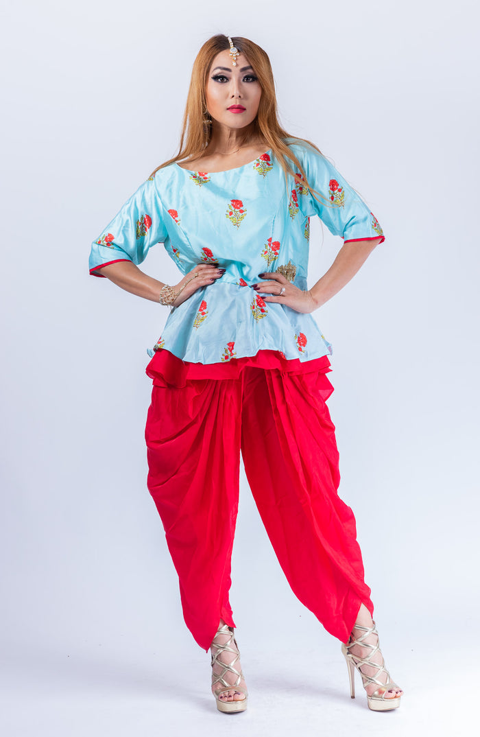 Silk Chili Red Dhoti Pants With Long Crop Top Set