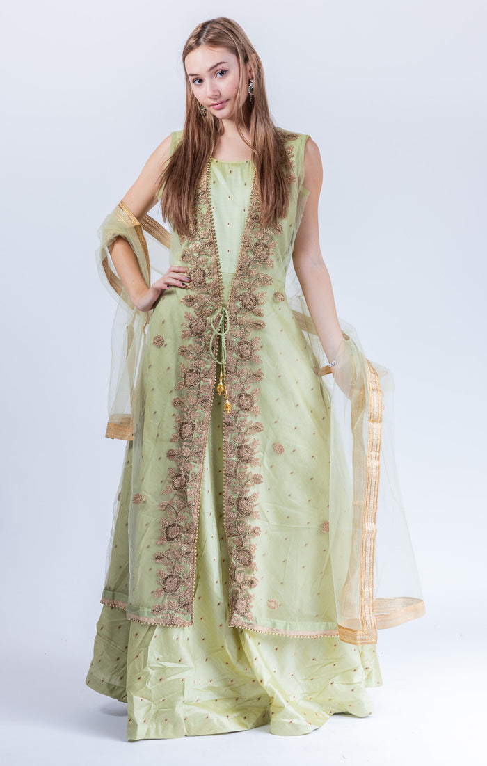 Silk Tea Green Embroidered With Detachable Jacket Gown