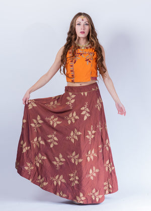 Cotton Silk Cinnamon Brown Block printed Lehenga With embroidered Crop Top