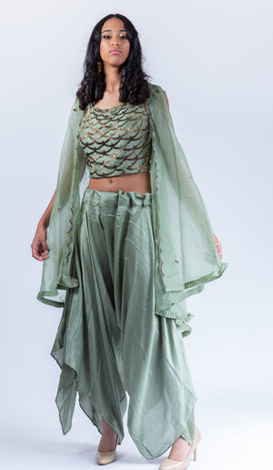 Embroidered Sage Green Trendy & Fancy Harem Pant Suit