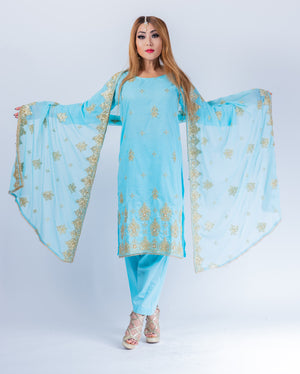 Silk Embroidered Electric Blue Salwar Kameez