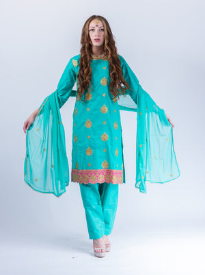 Fancy Embroidered Cotton Silk Jade Green Salwar Kameez