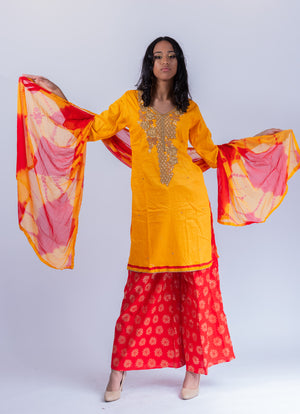 Cotton Silk Embroidered Amber Yellow Palazzo Salwar Kameez