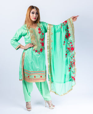 Silk Jade Green With Chili Red Roses Embroidered Salwar Kameez