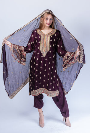 Fancy Embroidered  Silk Chocolate Brown Salwar Kameez