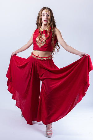 Silk Burgundy Red Sharara Pants With Embroidered Crop Top Set