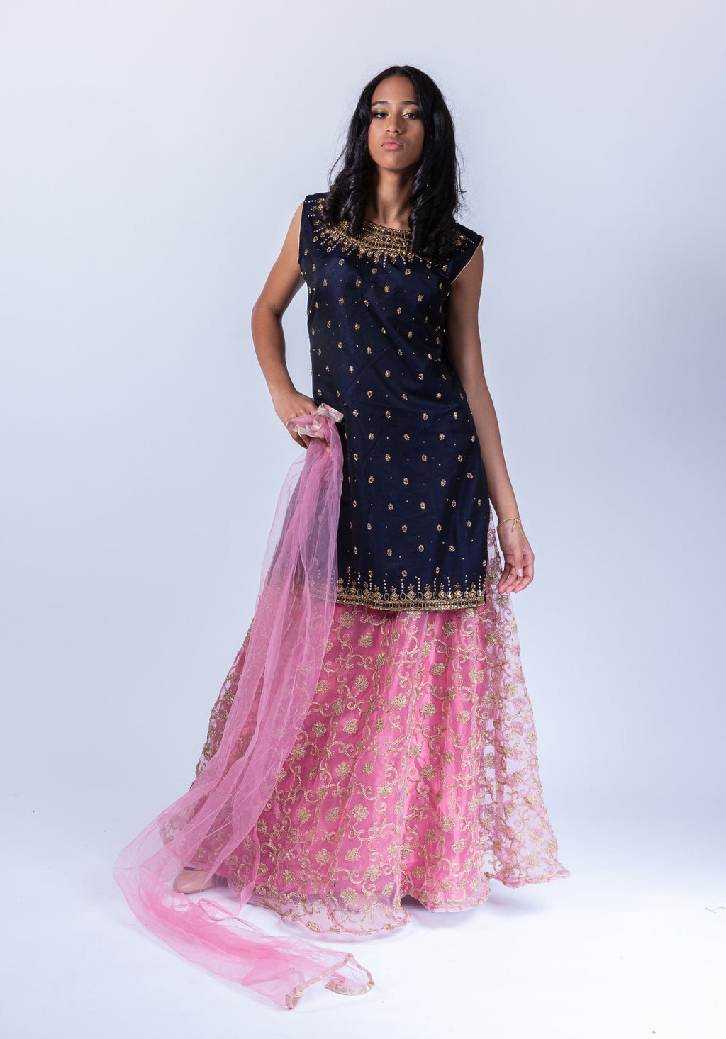 Embroidered Silk Space Blue With Bubblegum Pink  Anarkali Split Lehenga