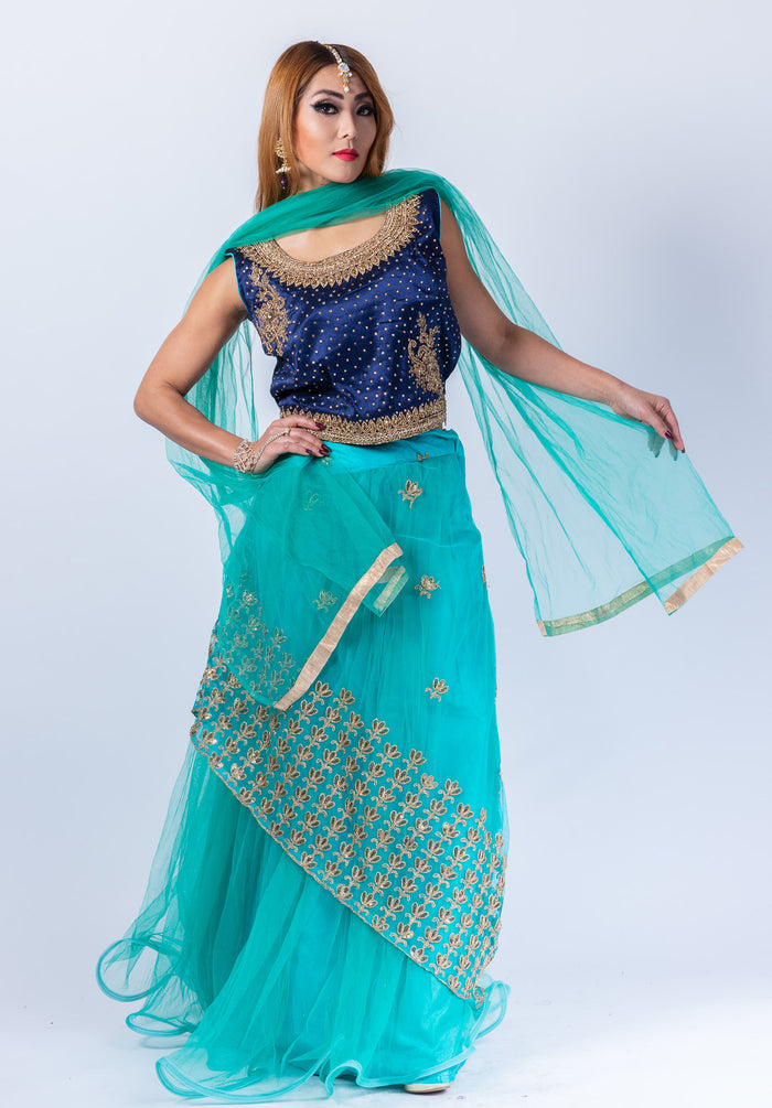Silk Turquoise Blue Net Embroidered Lehenga Set
