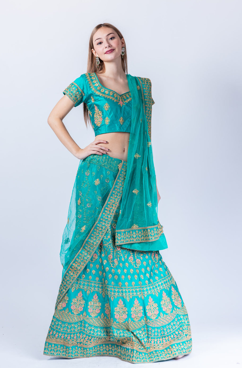 Silk Teal Blue Heavy Embroidered Lehenga Set