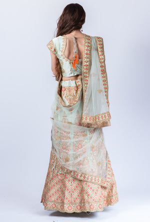 Silk Light Paris Green With Rose Pink Flowers Heavy Embroidered Lehenga Set