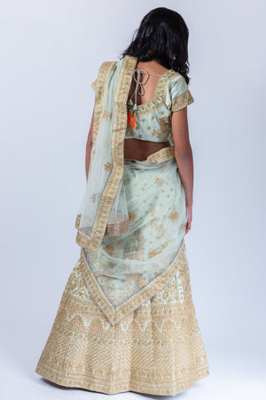 Silk Sage Green Heavy Embroidered Lehenga Set