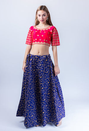 Silk Navy Blue Heavy Embroidered Lehenga Skirt