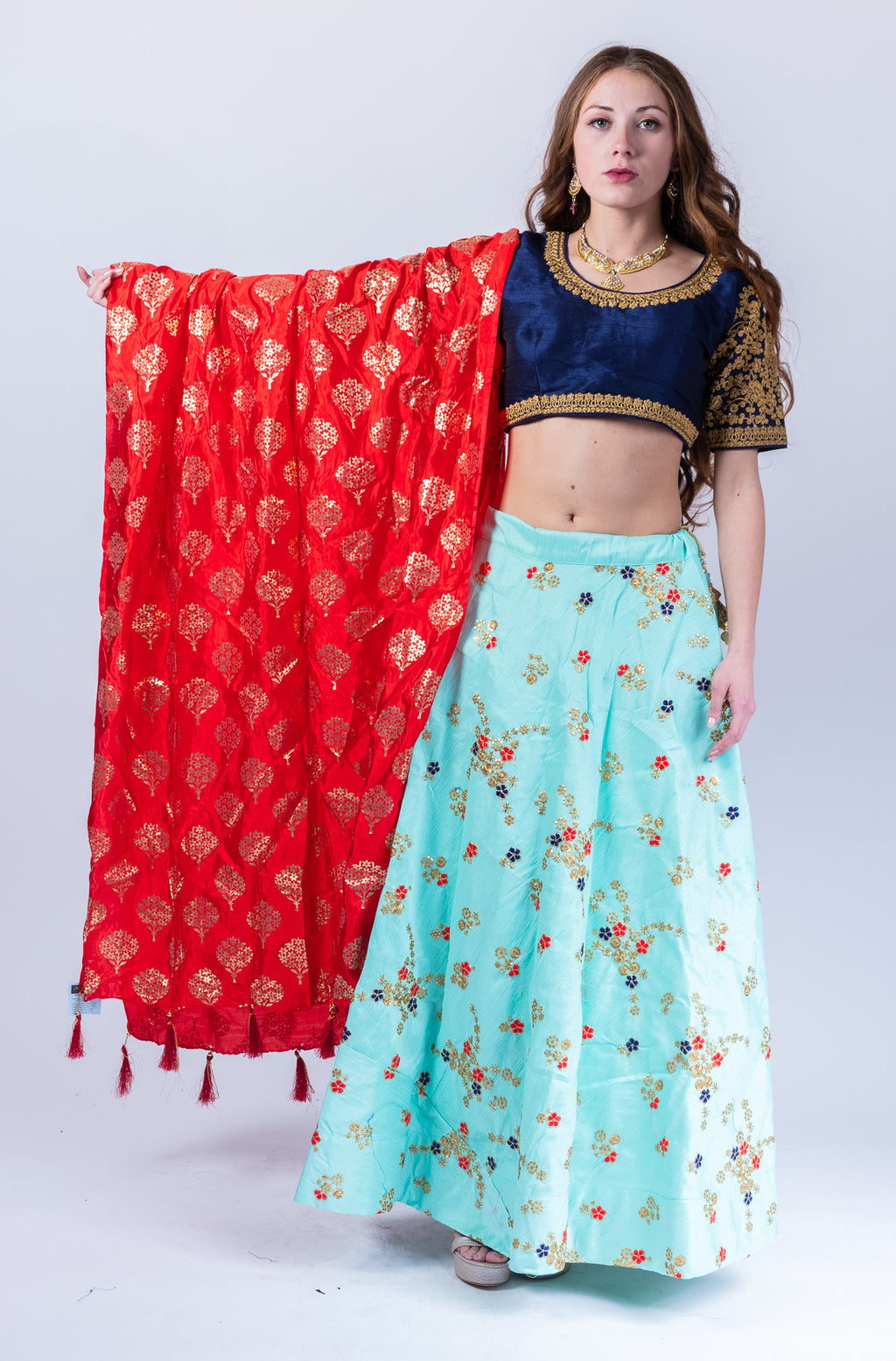 Fancy Silk Tiffany Blue Embroidered Lehenga Skirt