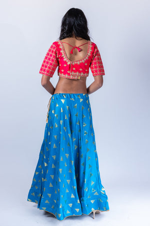 Silk Olympic Blue Lehenga Skirt