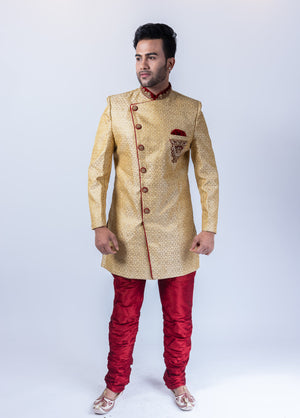 Silk Brocade Asymmetric Mellow Gold Embroidered Sherwani / Jacket
