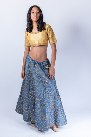 Fancy Silk Pigeon Blue Embroidered Lehenga Skirt