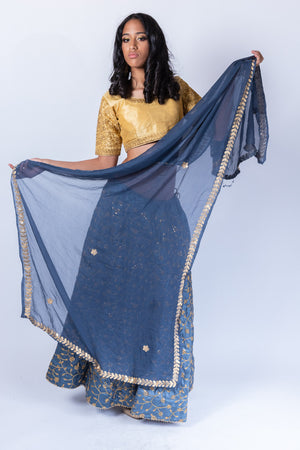 Chiffon Egyptian Blue With Gotta Patti Work Border Scarf